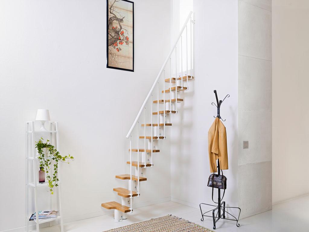 Trappkittet oak 90: trappa med rak utformning av stål och massivt ...